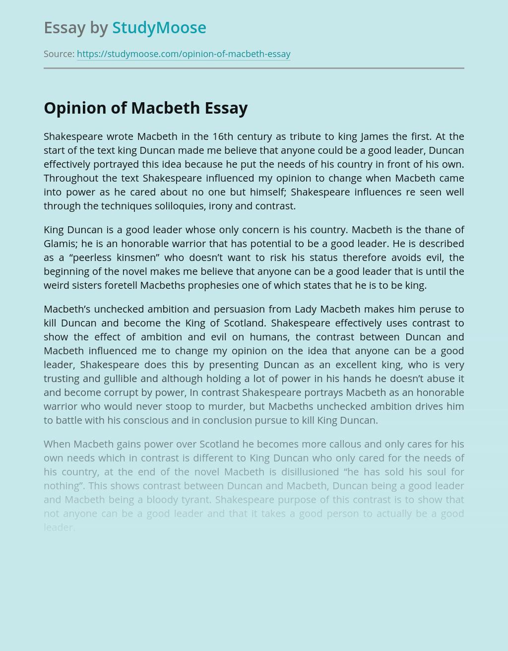 Opinion of Macbeth