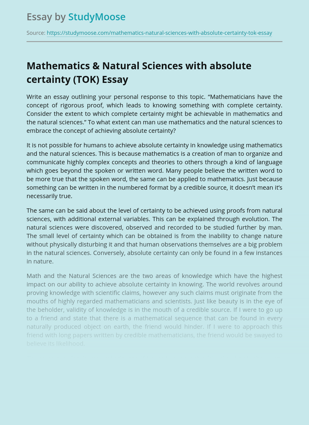 Mathematics & Natural Sciences with absolute certainty (TOK)