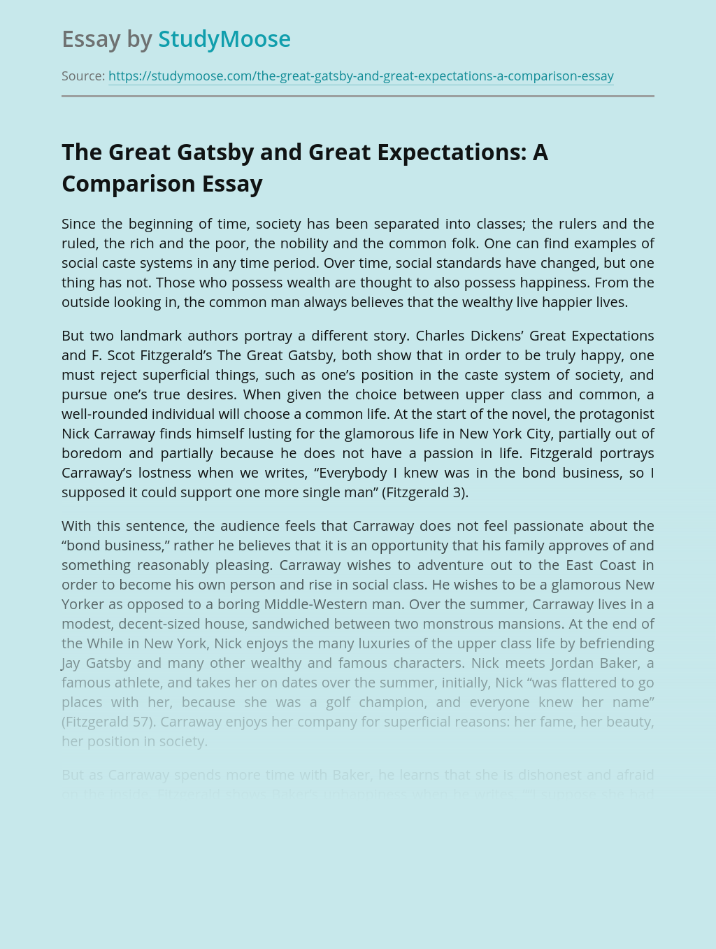 The Great Gatsby and Great Expectations: A Comparison