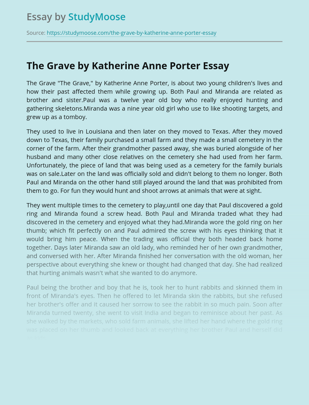 The Grave by Katherine Anne Porter