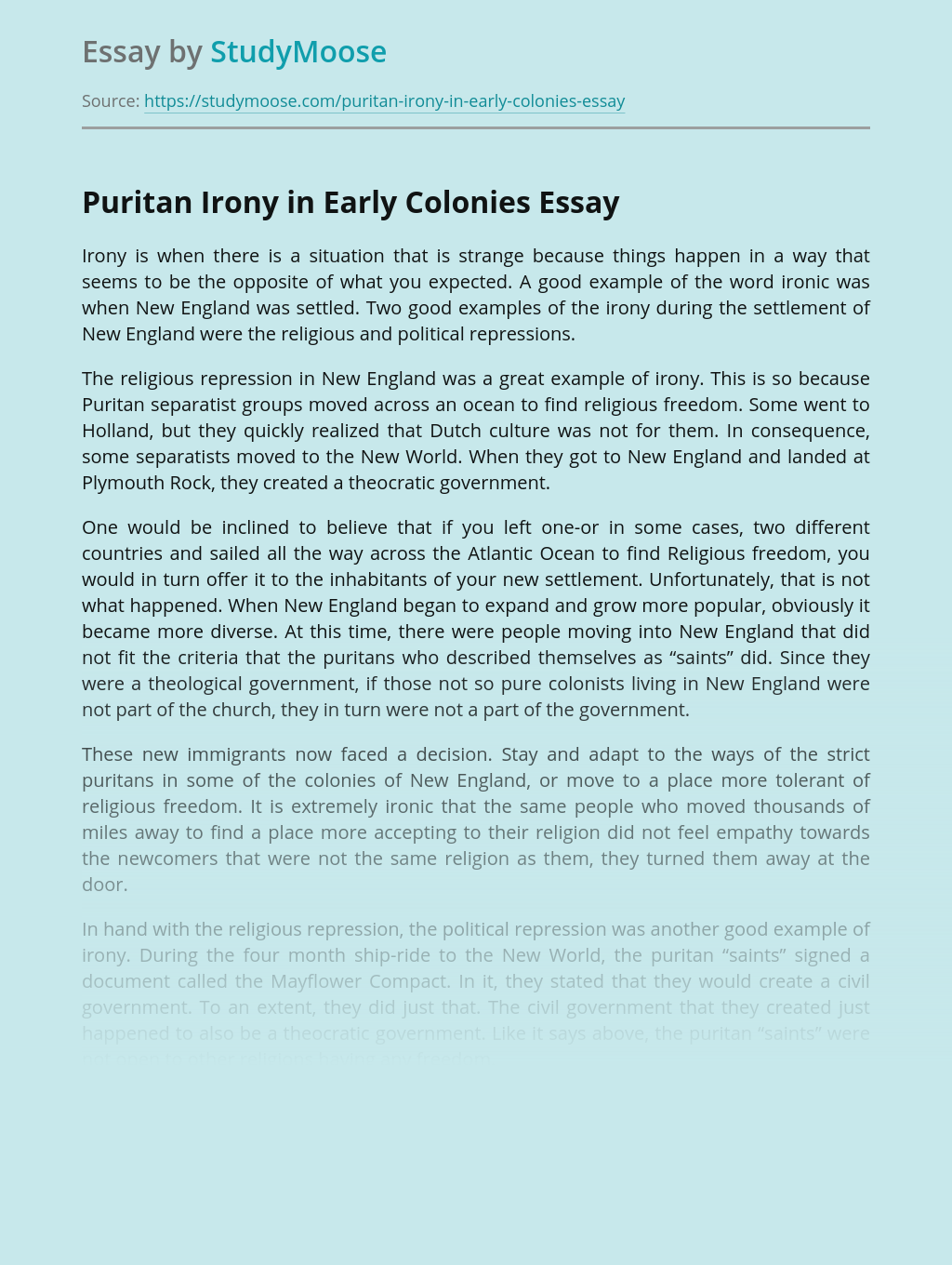 Puritan Irony in Early Colonies