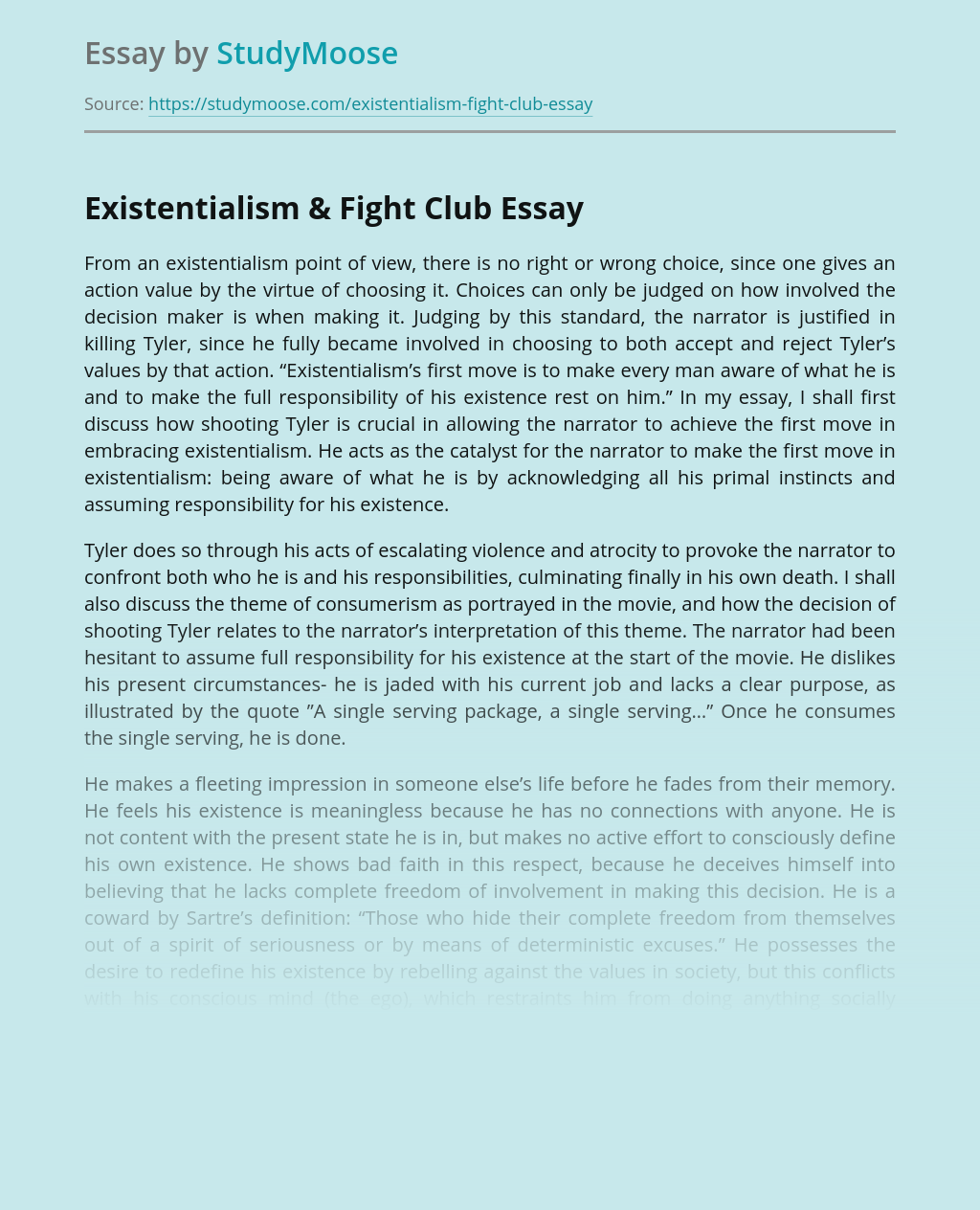 Existentialism & Fight Club