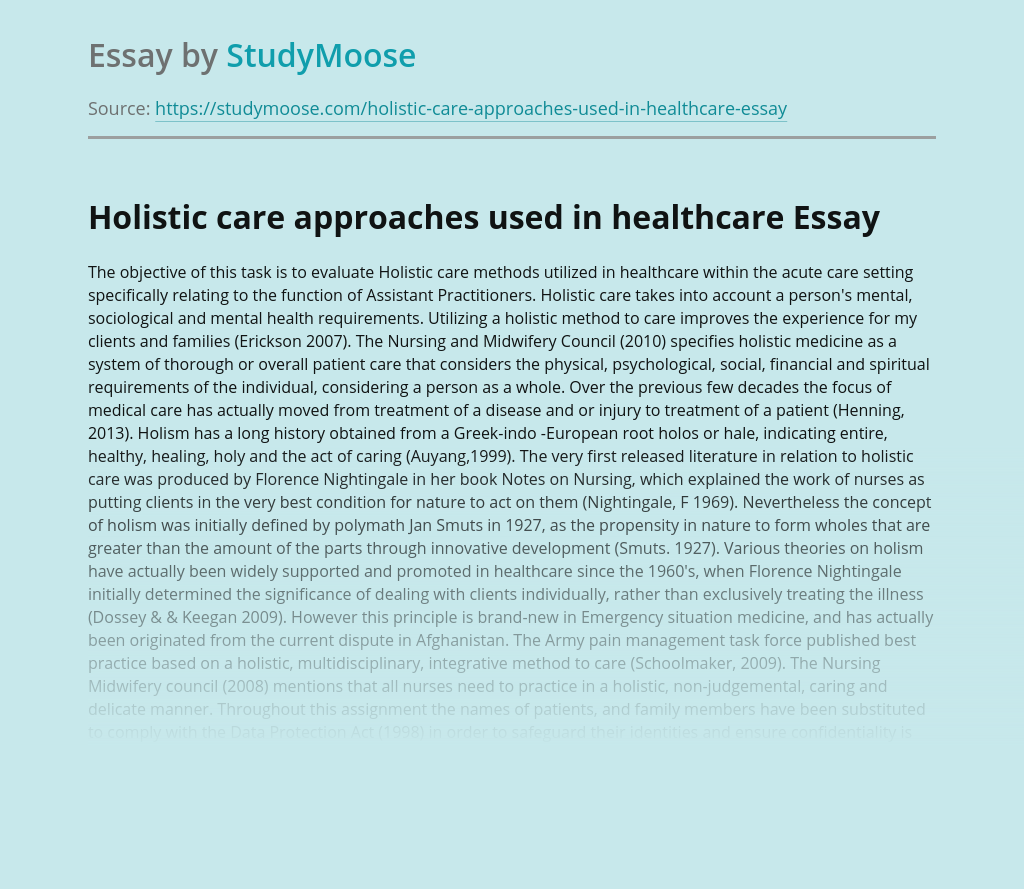 Holistic care approaches used in healthcare