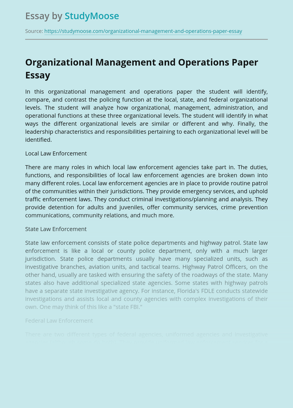 Organizational Management and Operations Paper