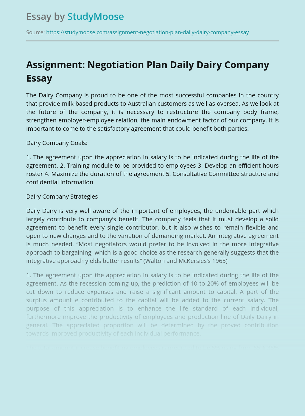 Assignment: Negotiation Plan Daily Dairy Company