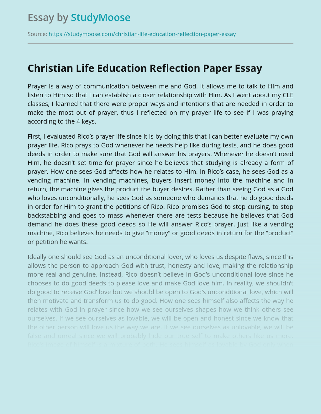 Christian Life Education Reflection Paper
