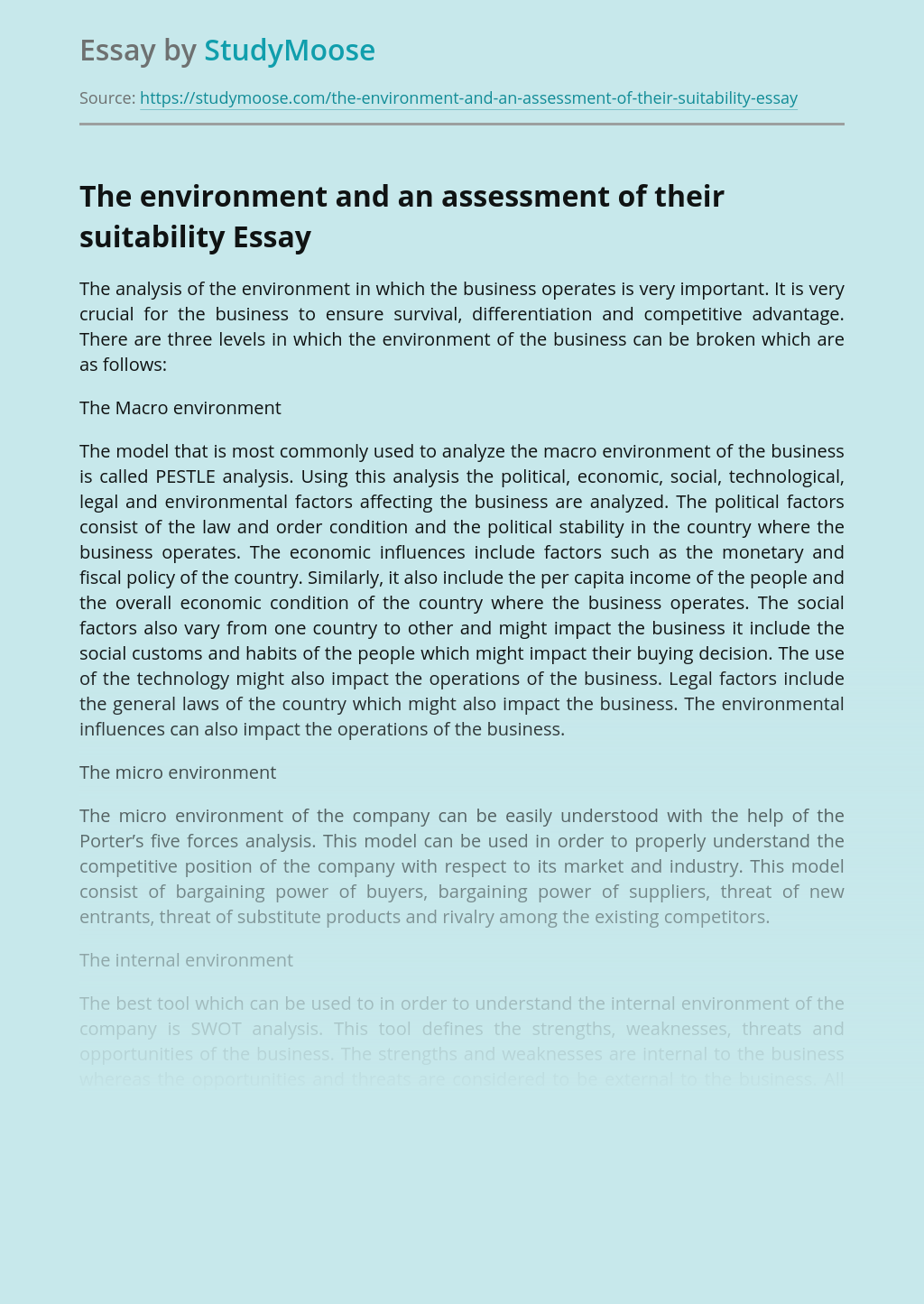 The environment and an assessment of their suitability