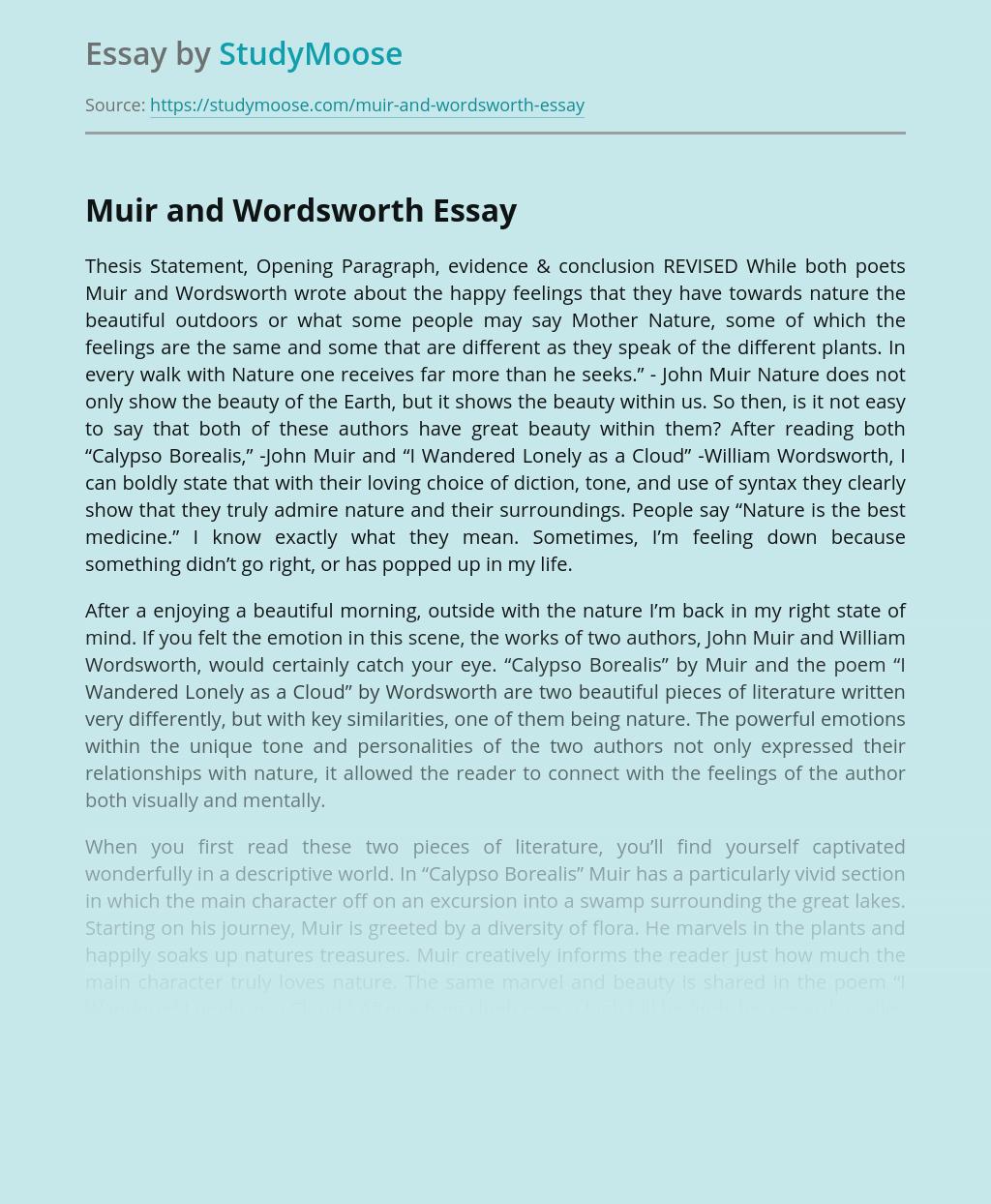 Muir and Wordsworth