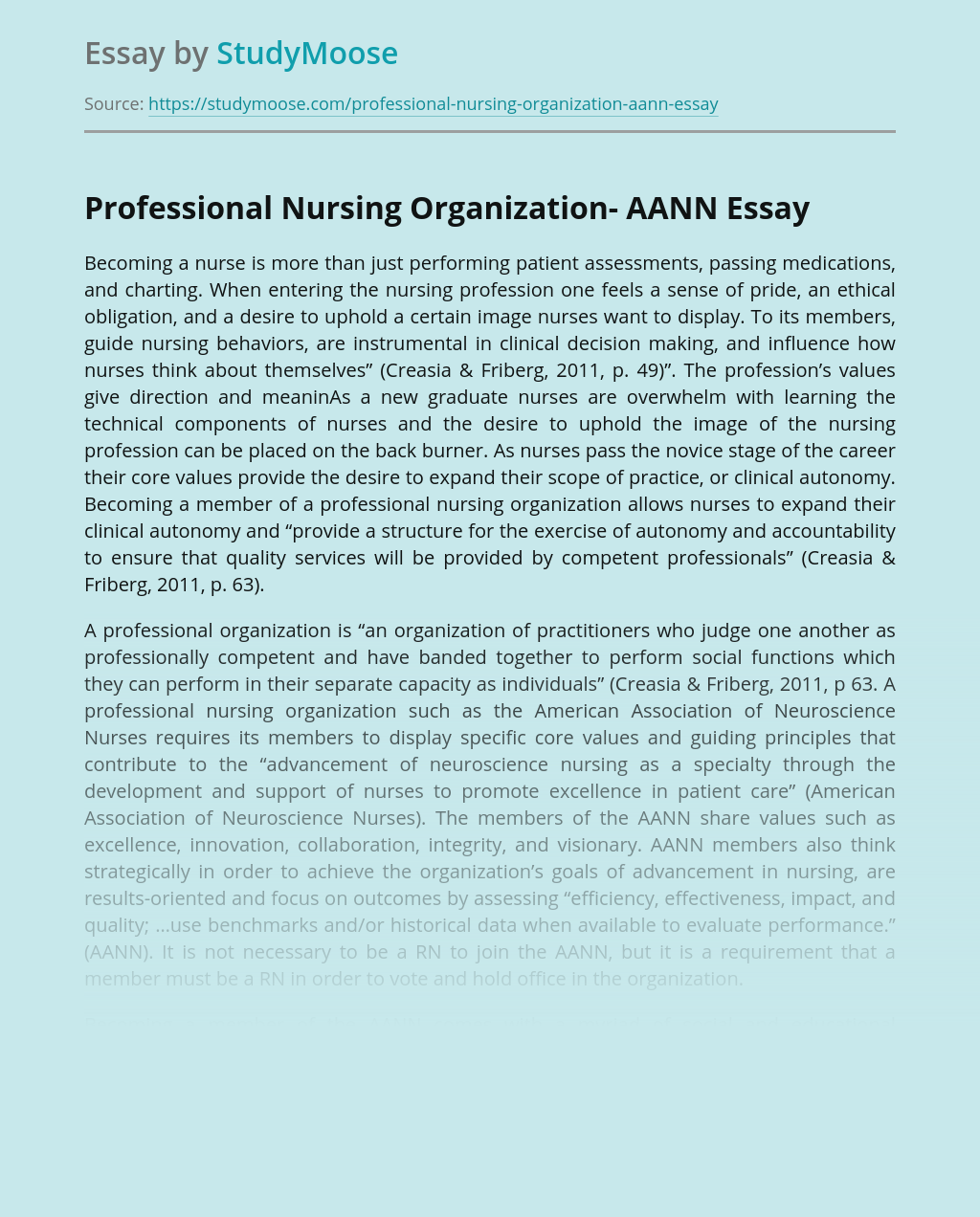 Professional Nursing Organization- AANN
