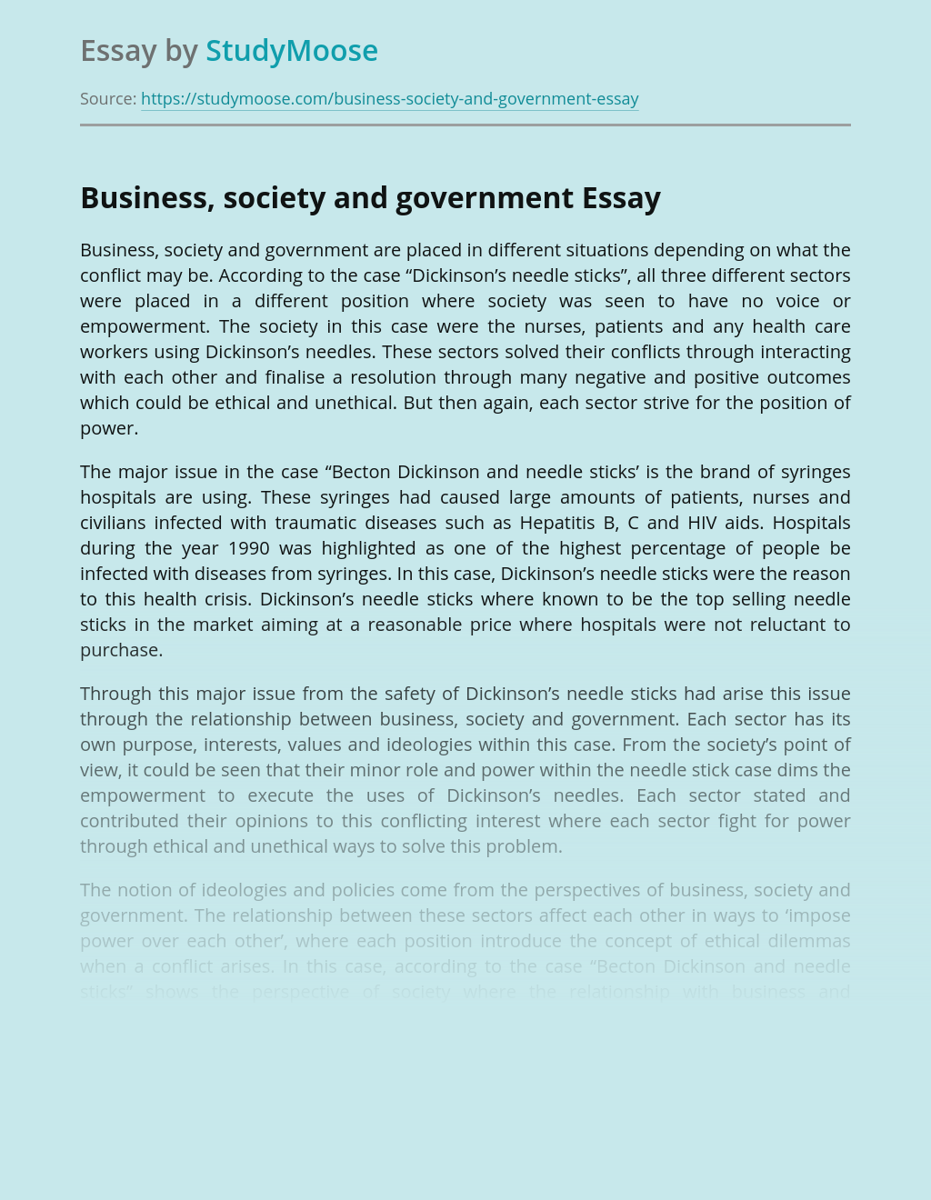 ?Business, society and government