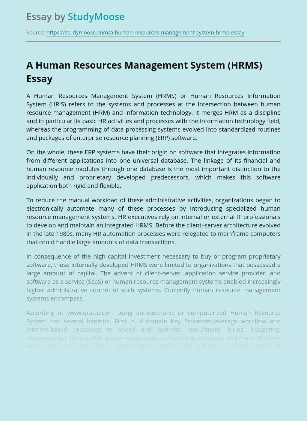 A Human Resources Management System (HRMS)