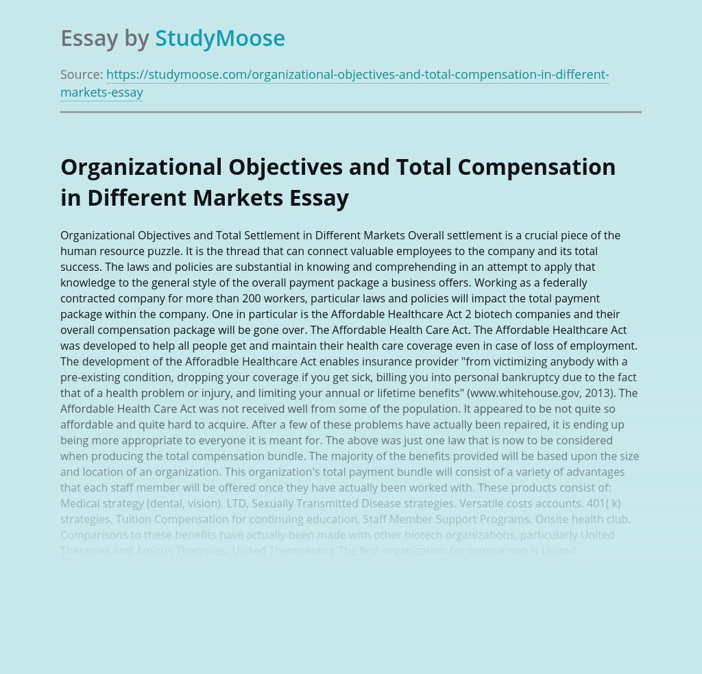 Organizational Objectives and Total Compensation in Different Markets
