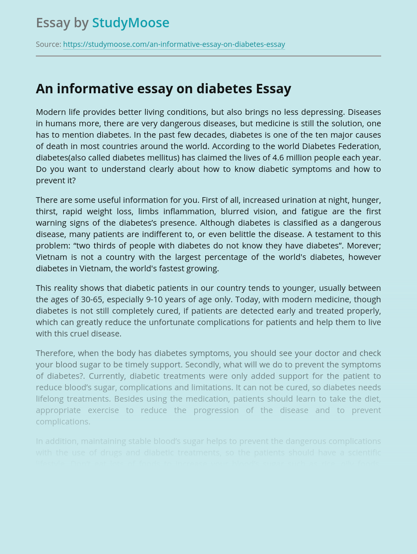 An informative essay on diabetes