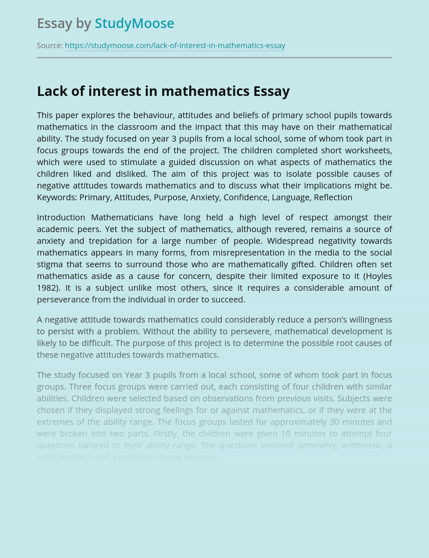 Lack of interest in mathematics