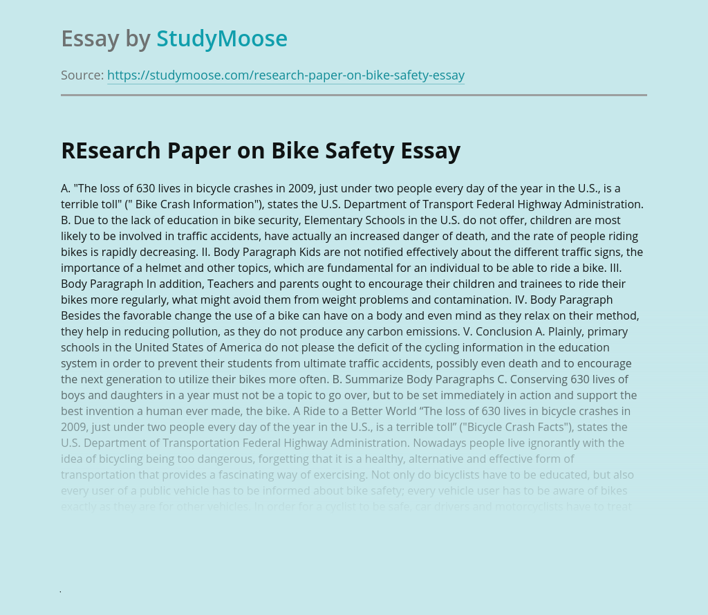 REsearch Paper on Bike Safety