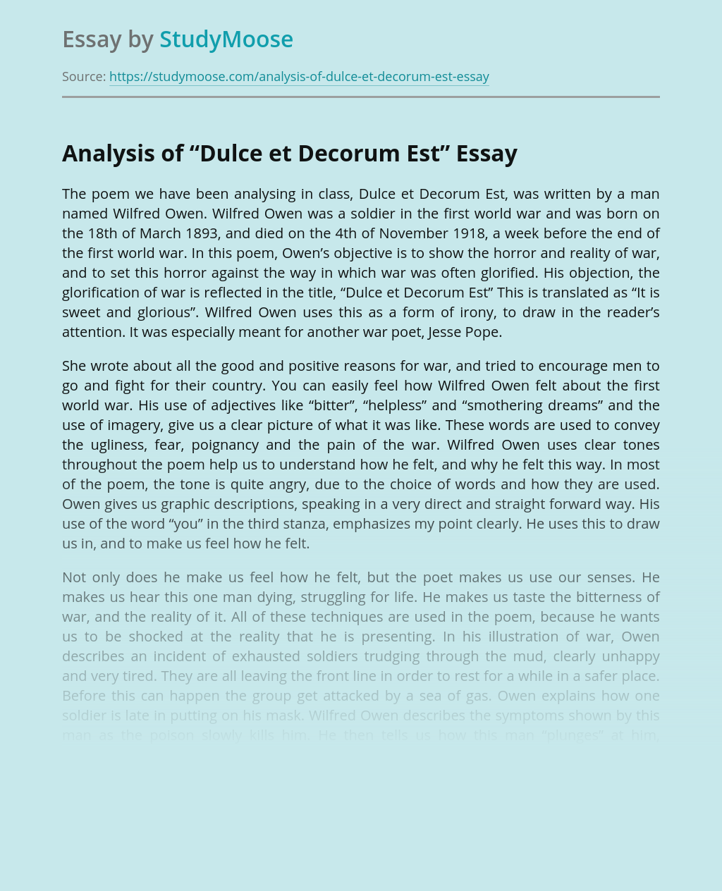 "Analysis of ""Dulce et Decorum Est"""