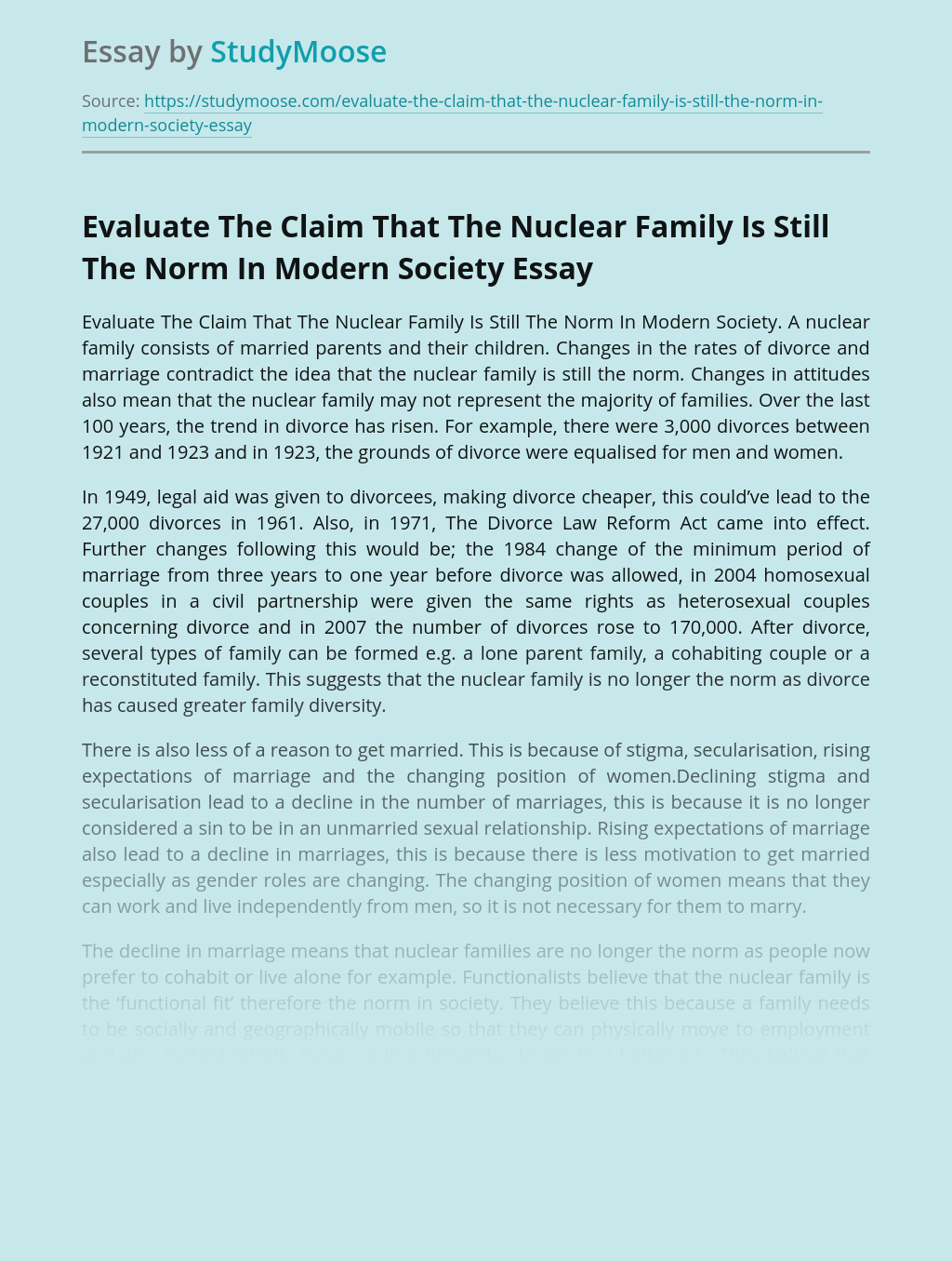 Evaluate The Claim That The Nuclear Family Is Still The Norm In Modern Society