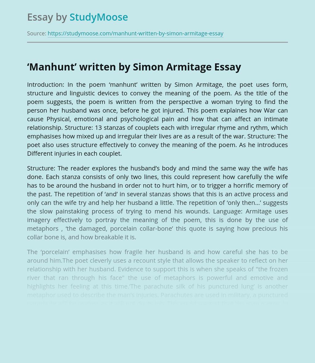 'Manhunt' written by Simon Armitage