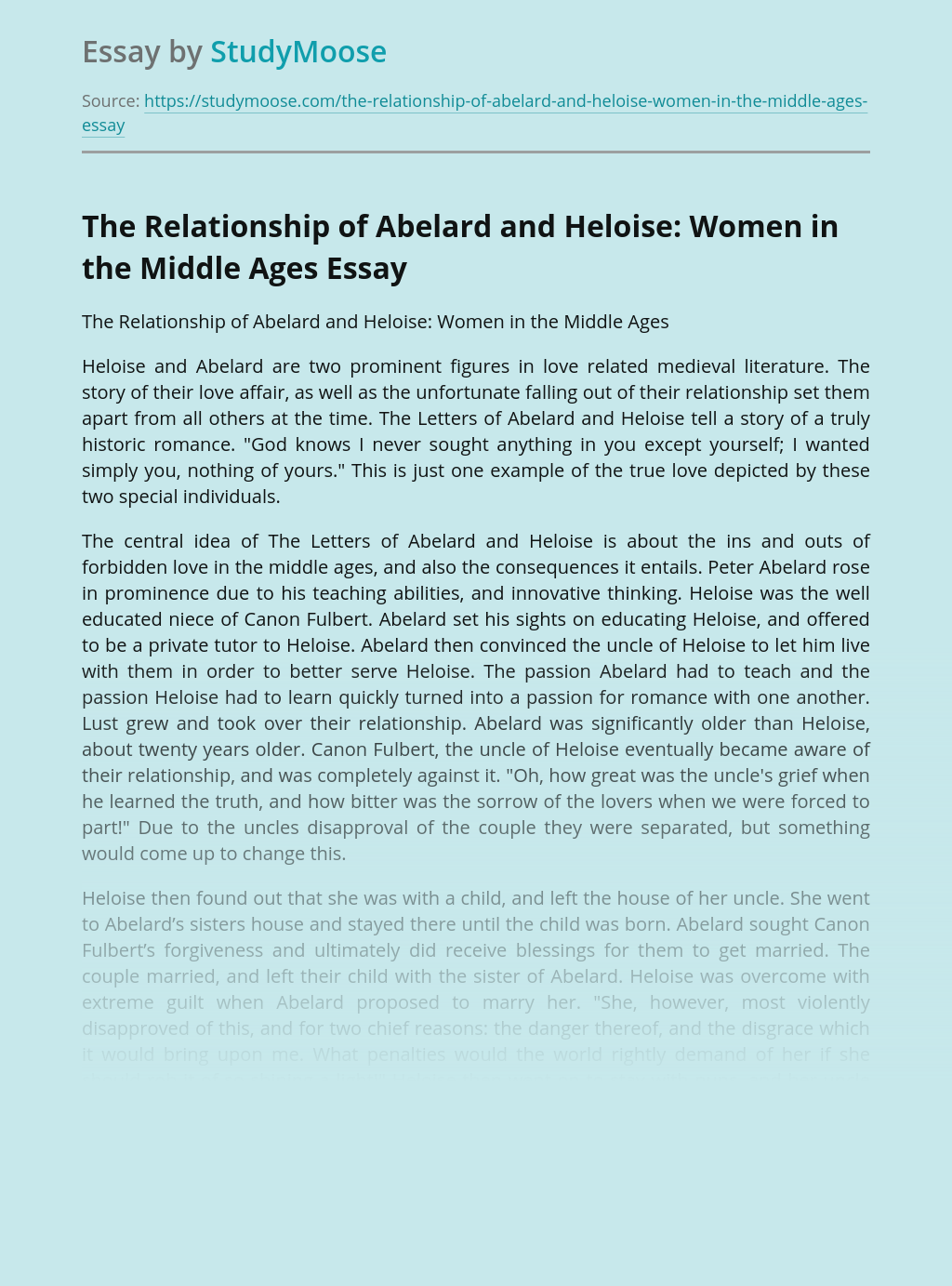 The Relationship of Abelard and Heloise: Women in the Middle Ages