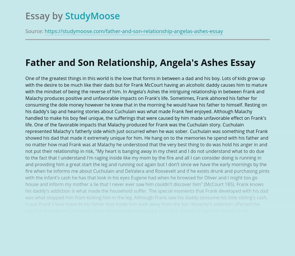 Father and Son Relationship, Angela's Ashes