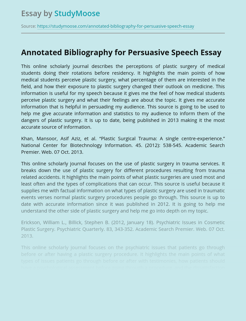 Annotated Bibliography for Plastic Surgery Speech Presentation