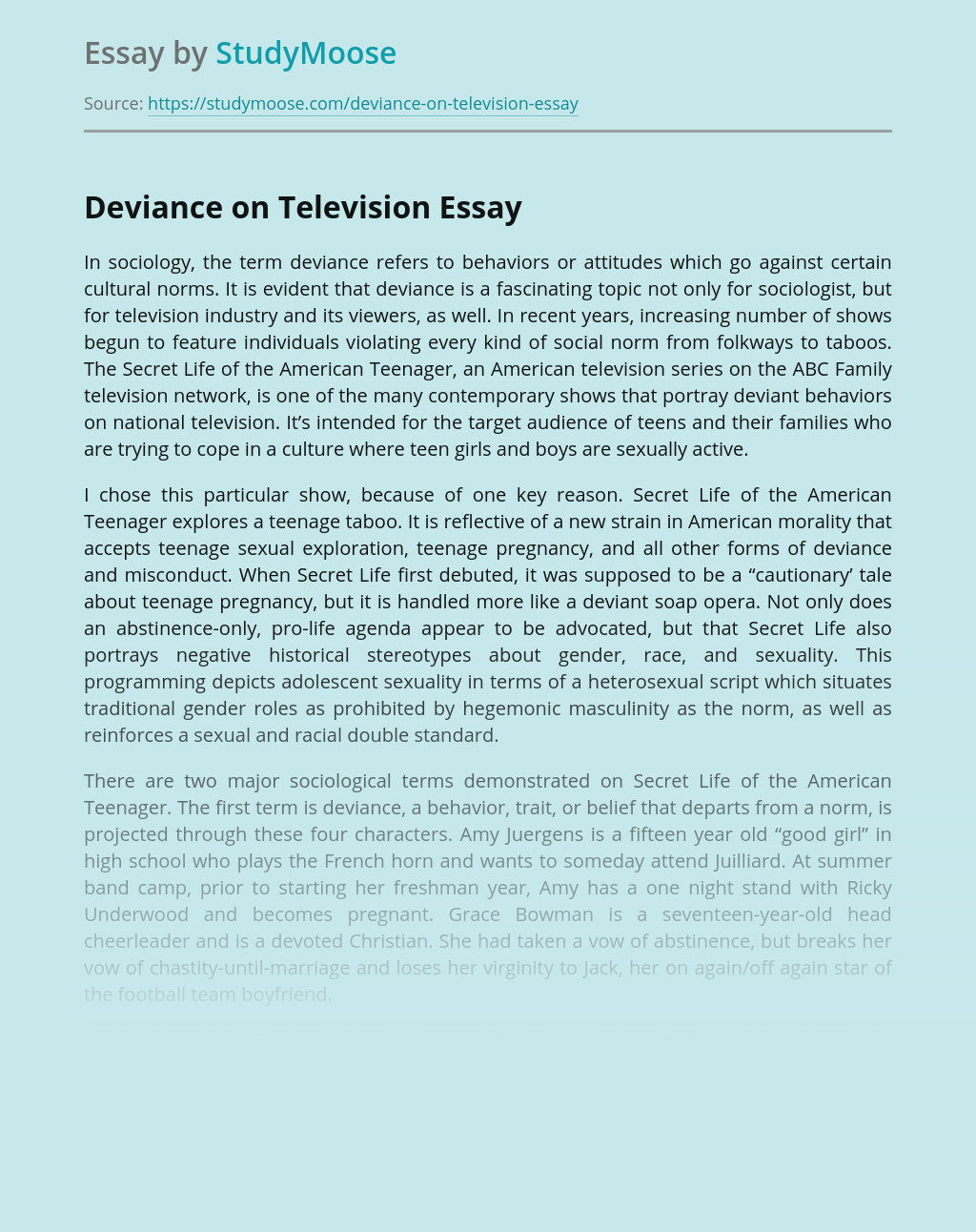 Deviance on Television