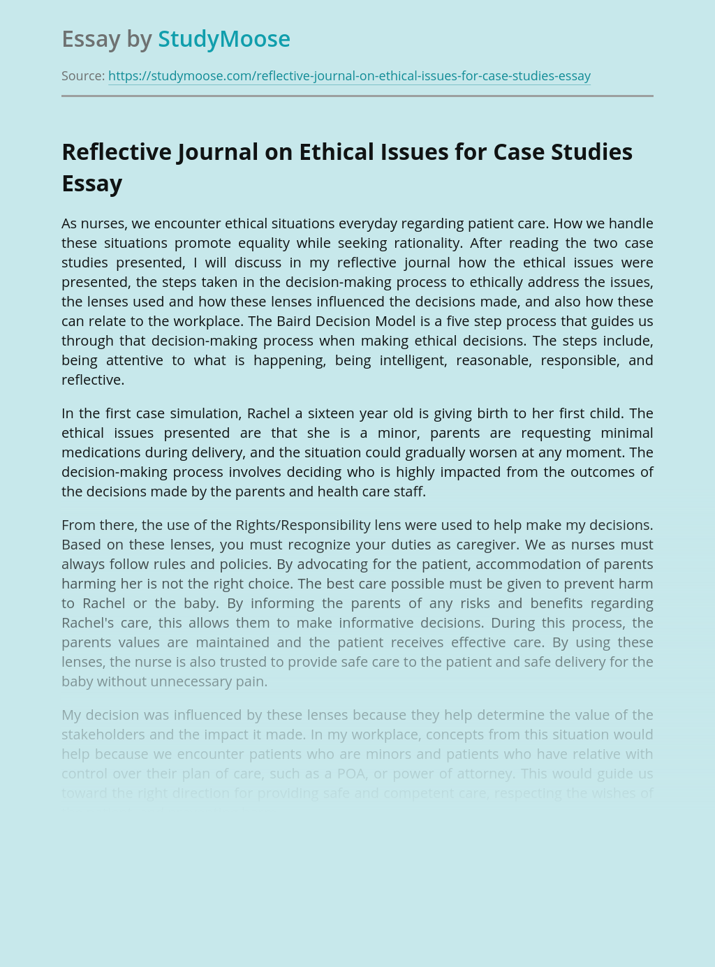 Reflective Journal on Ethical Issues for Case Studies