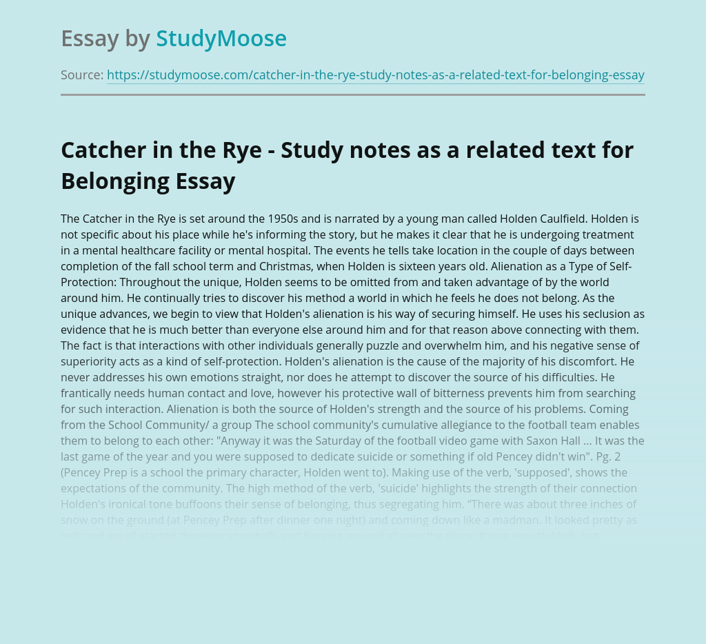 Catcher in the Rye - Study notes as a related text for Belonging