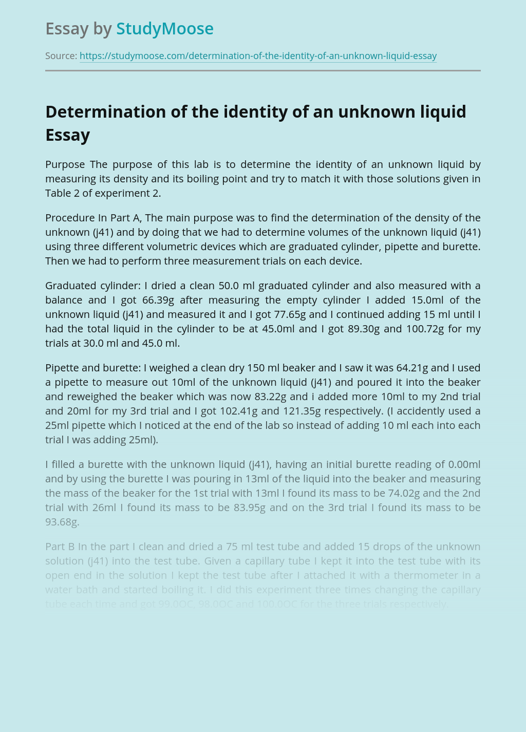 Determination of the identity of an unknown liquid