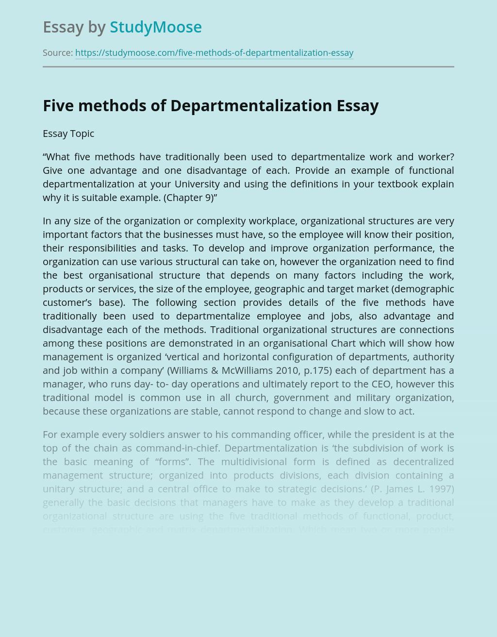 Five methods of Departmentalization in Management