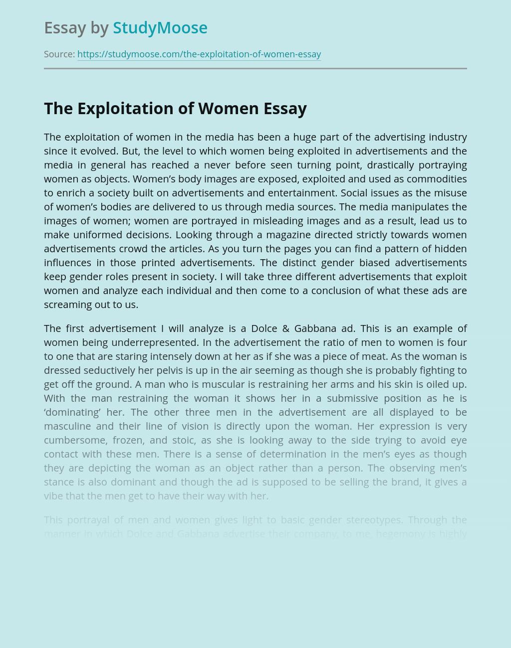 The Exploitation of Women