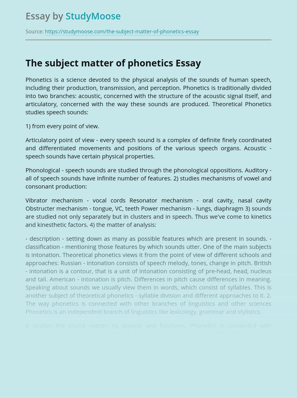 The subject matter of phonetics