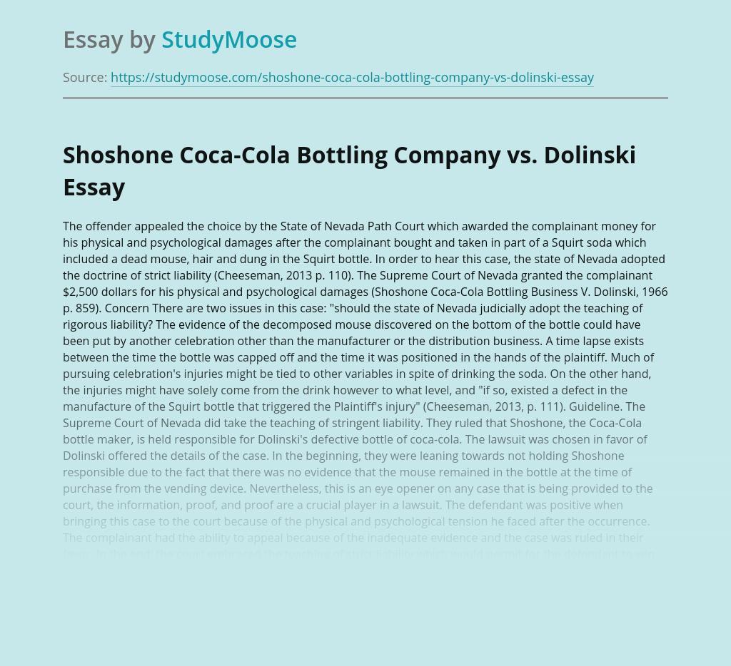 Shoshone Coca-Cola Bottling Company vs. Dolinski
