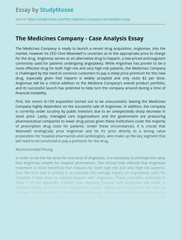 The Medicines Company and Angiomax- Case Analysis