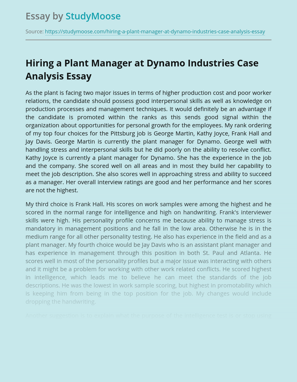 Analysis of Human Resource Management at Dynamo Industries