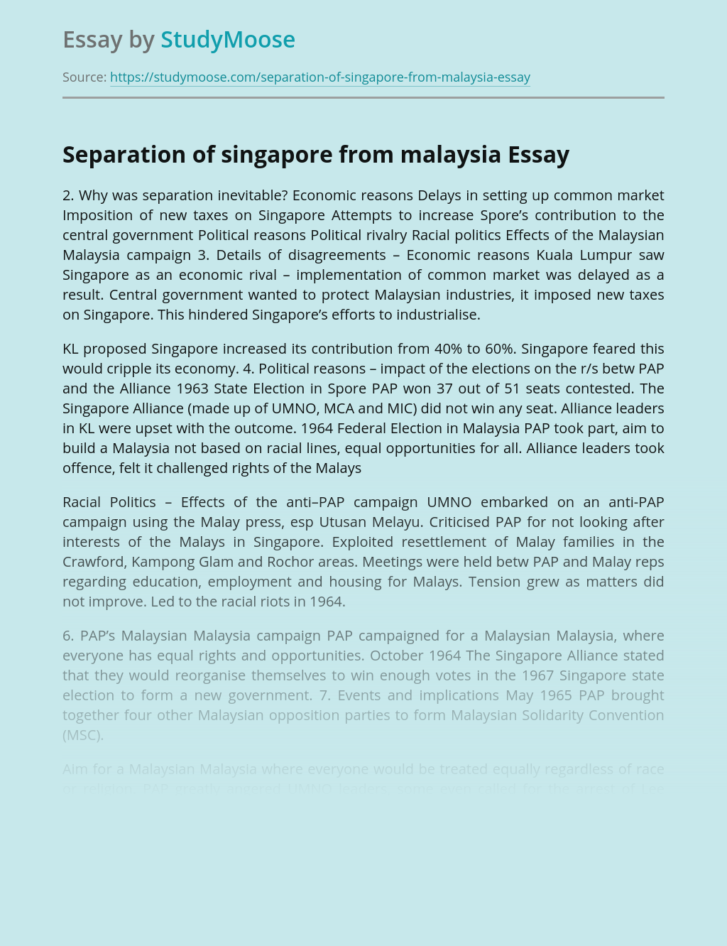 Separation of Singapore from Malaysia