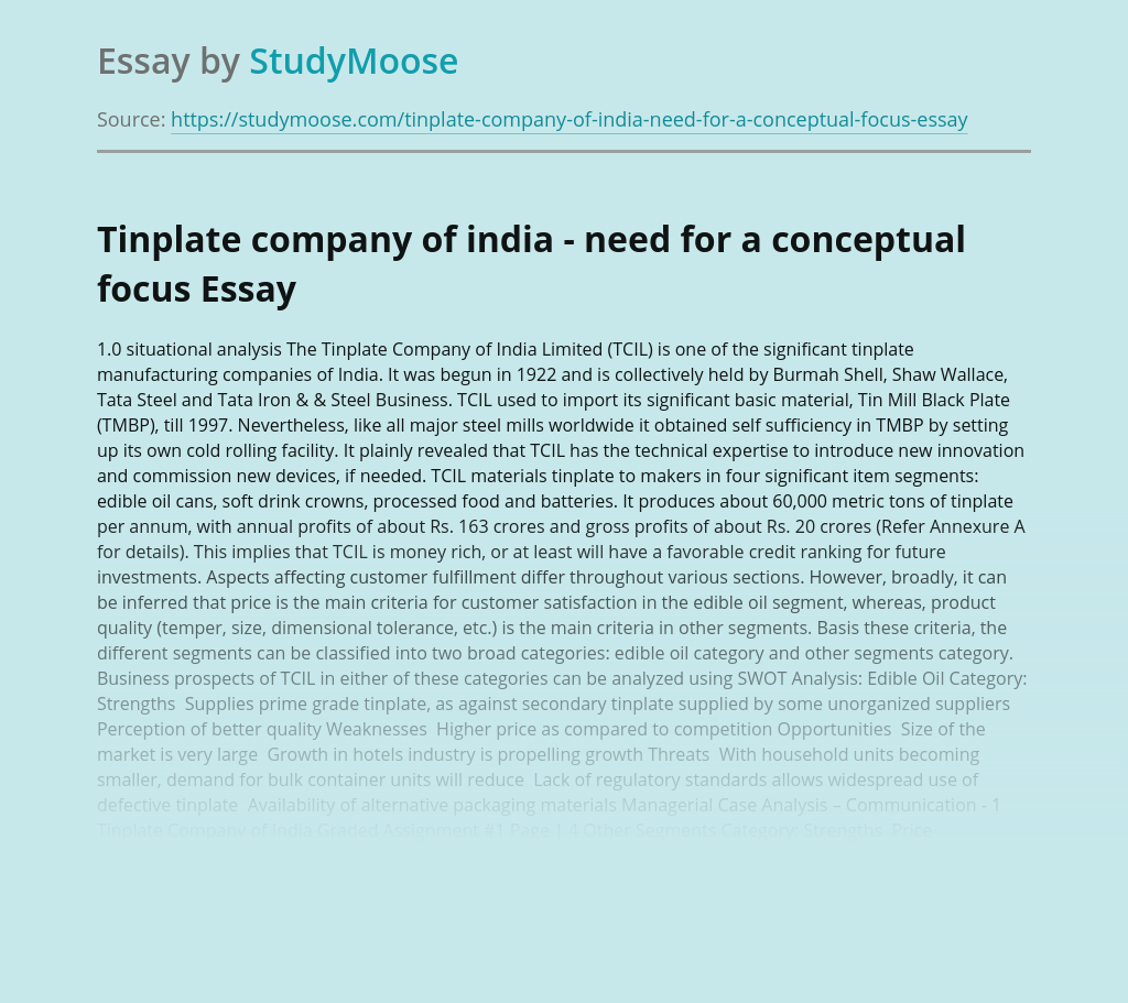 Tinplate company of india - need for a conceptual focus