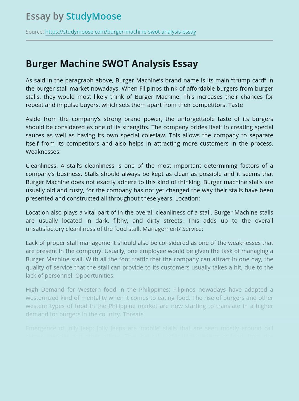 Burger Machine SWOT Analysis