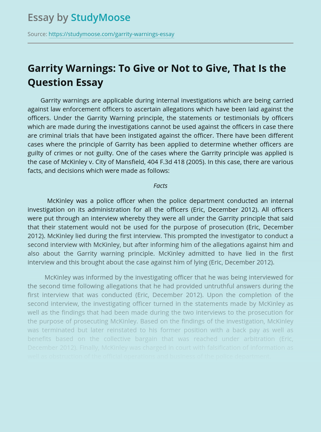 Garrity Warnings: To Give or Not to Give, That Is the Question