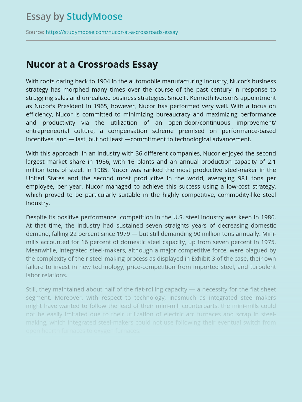 Nucor at a Crossroads Book Review