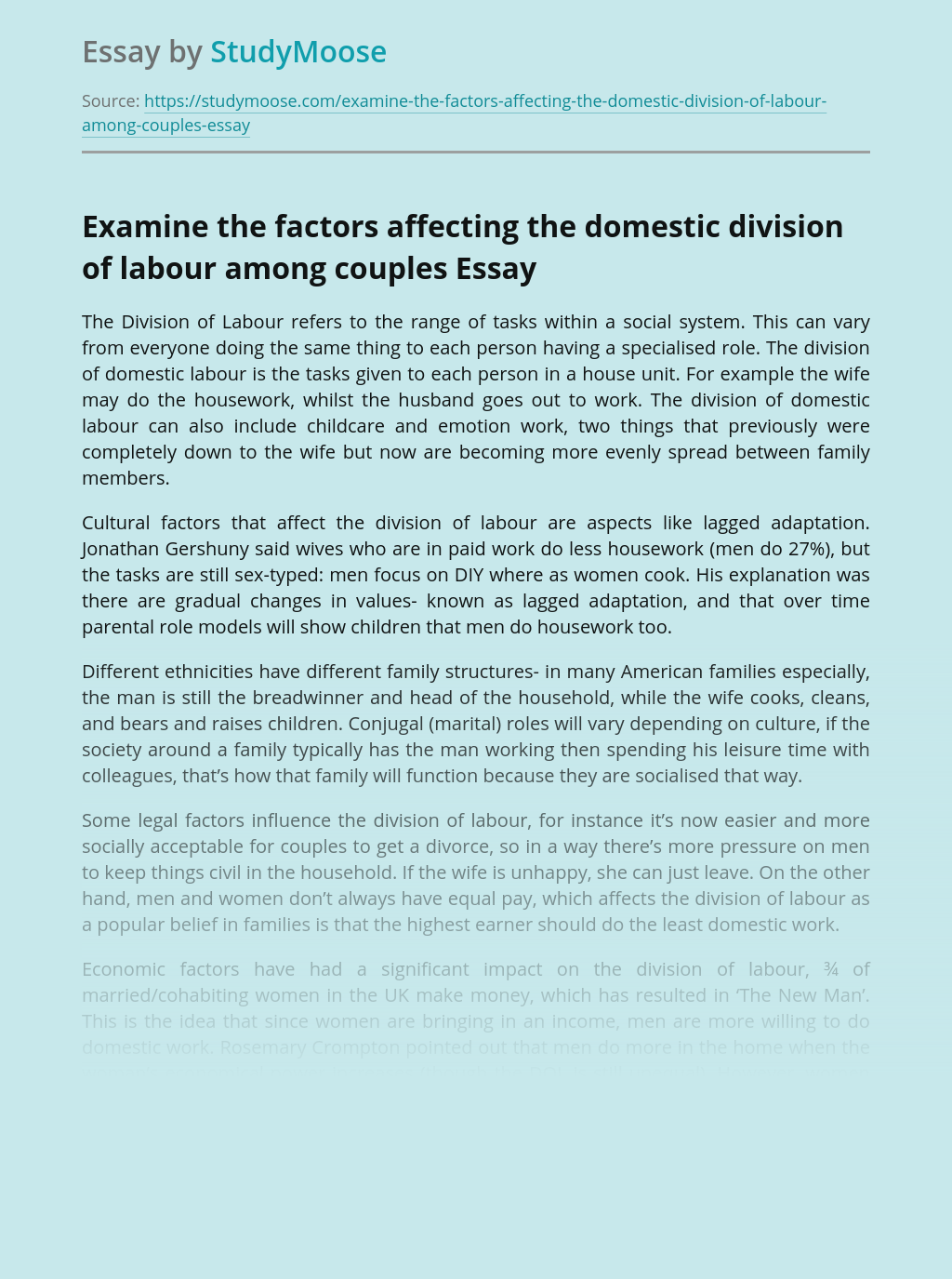 Examine the Factors Affecting the Domestic Division of Labour Among Couples