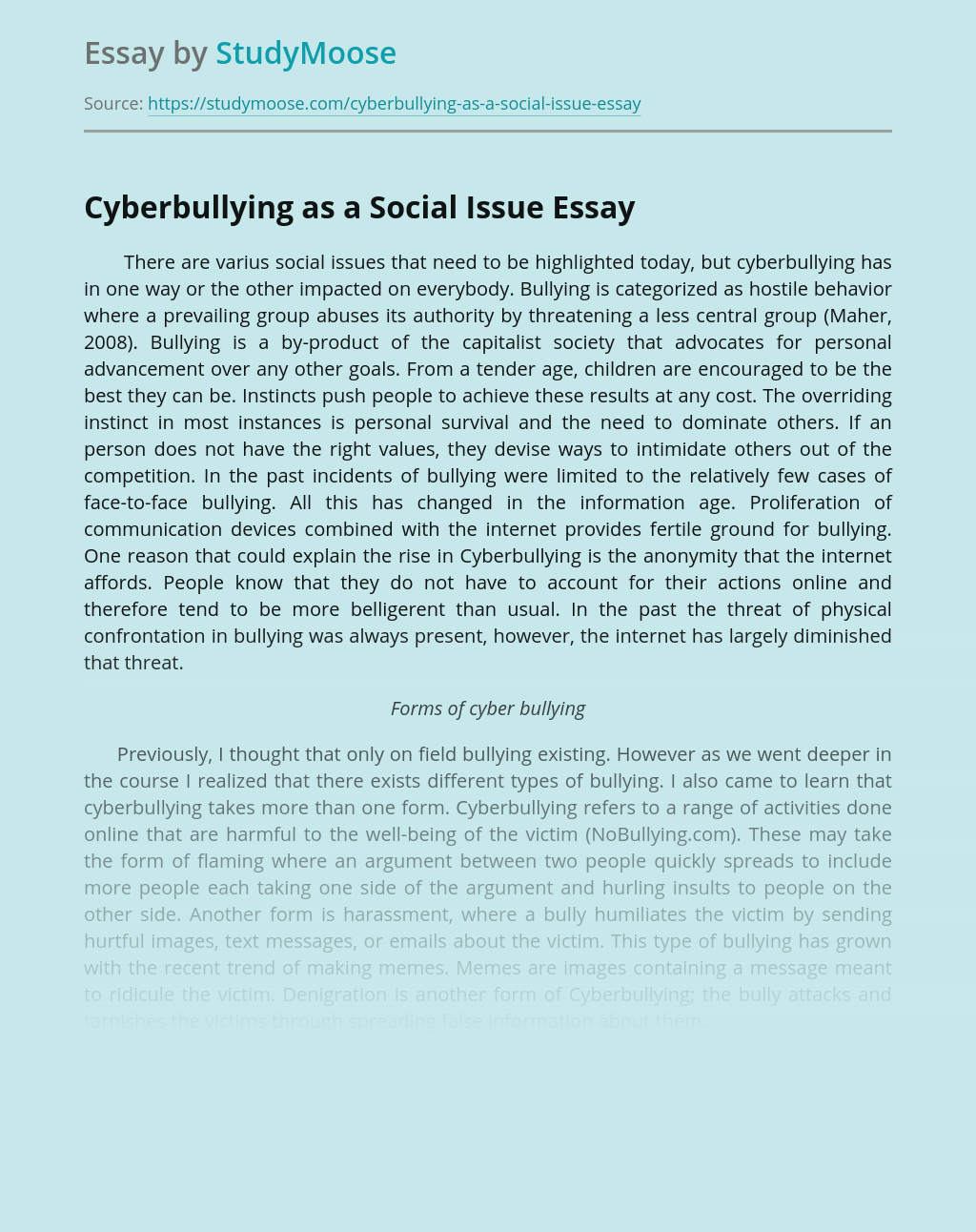 Cyberbullying as a Social Issue
