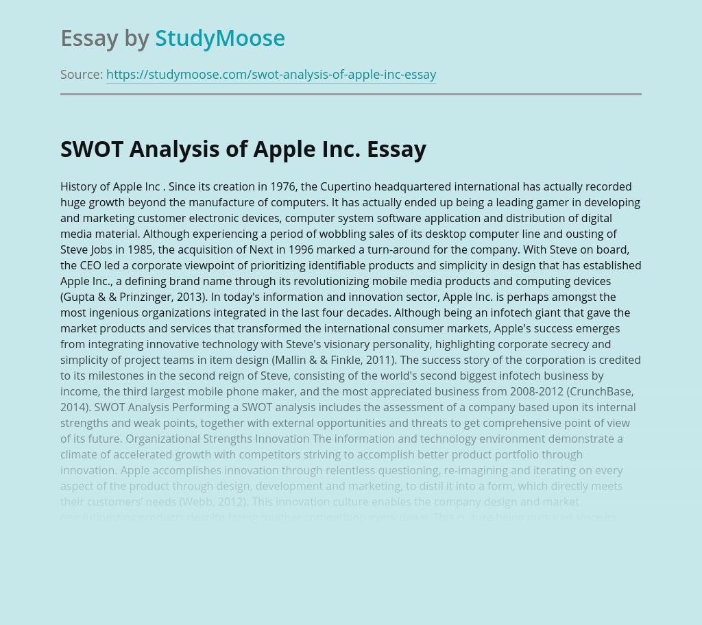 SWOT Analysis of Apple Inc.
