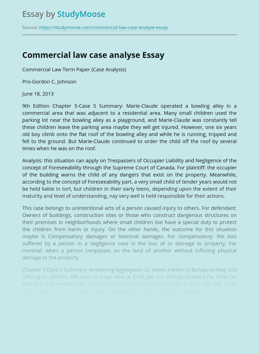Commercial law case analyse