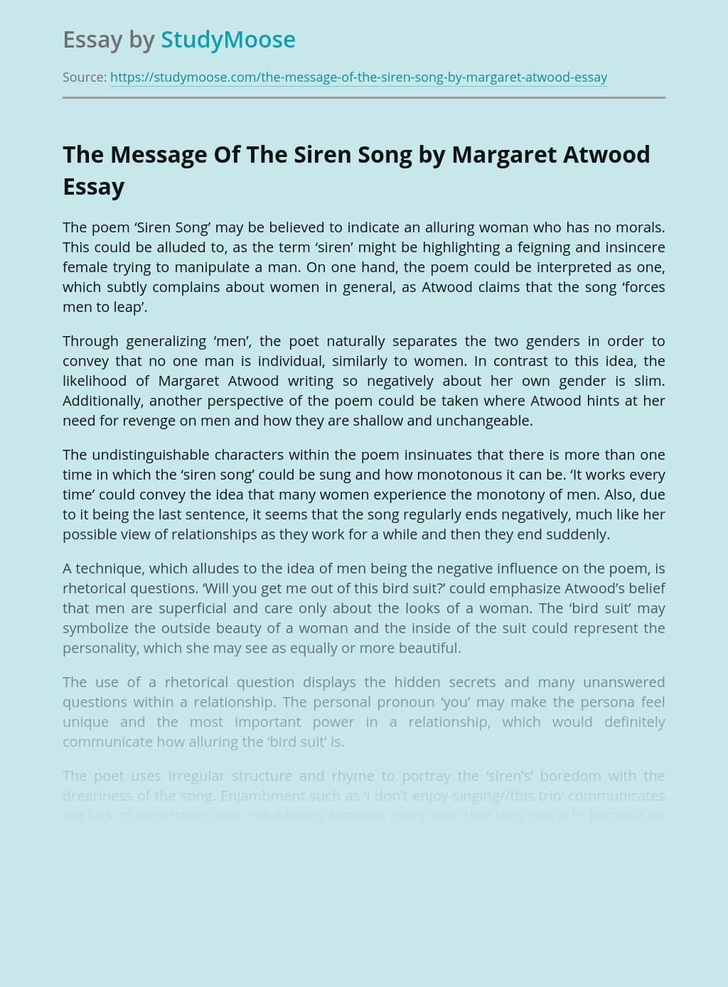A Poem The Siren Song by Margaret Atwood