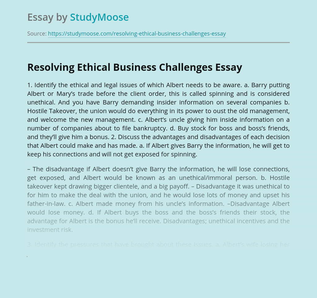 Resolving Ethical Business Challenges