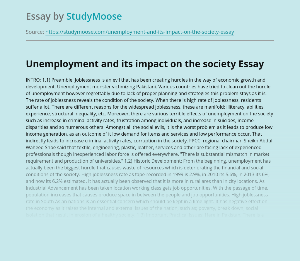 Unemployment and its impact on the society