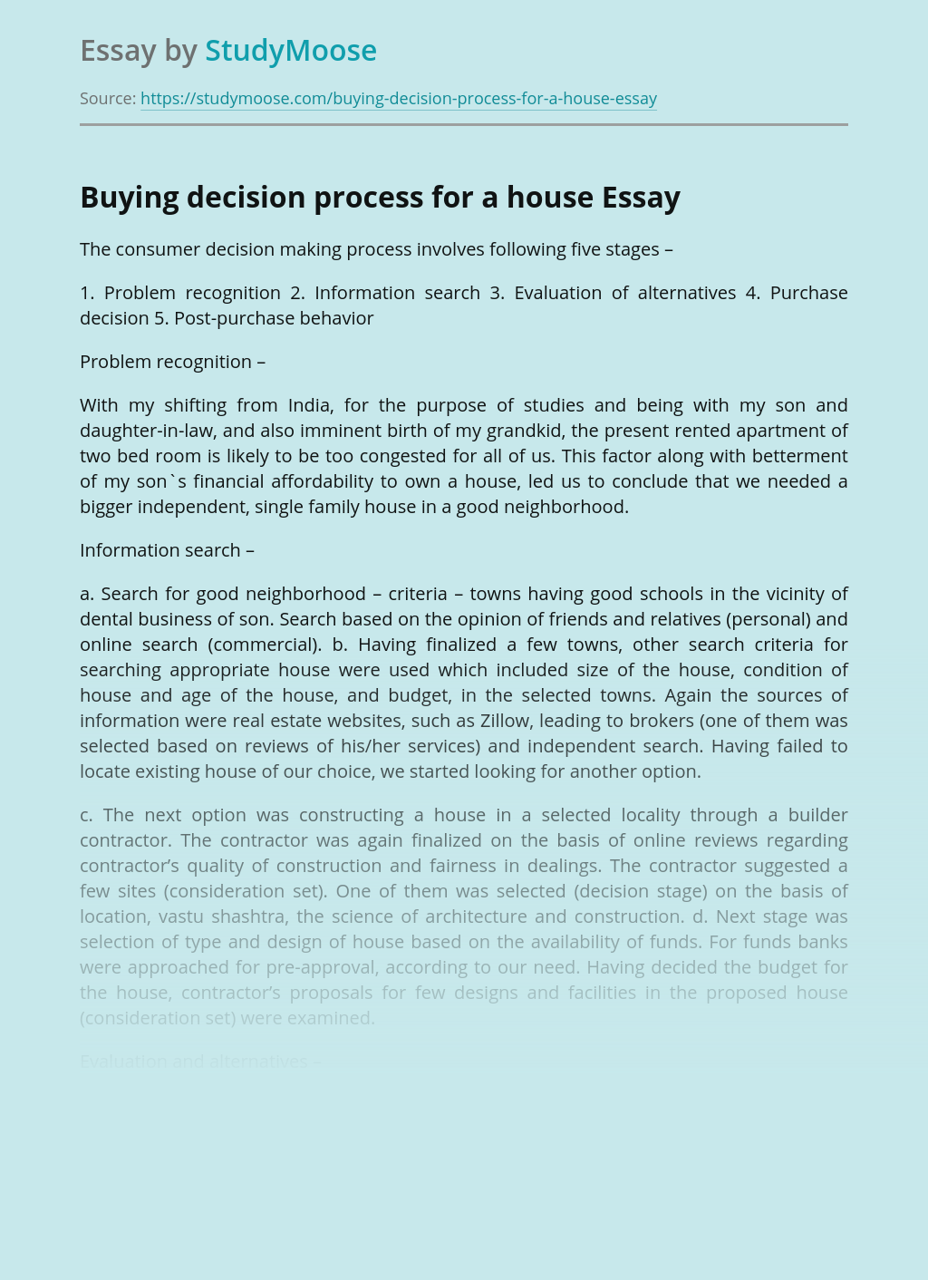 Buying decision process for a house