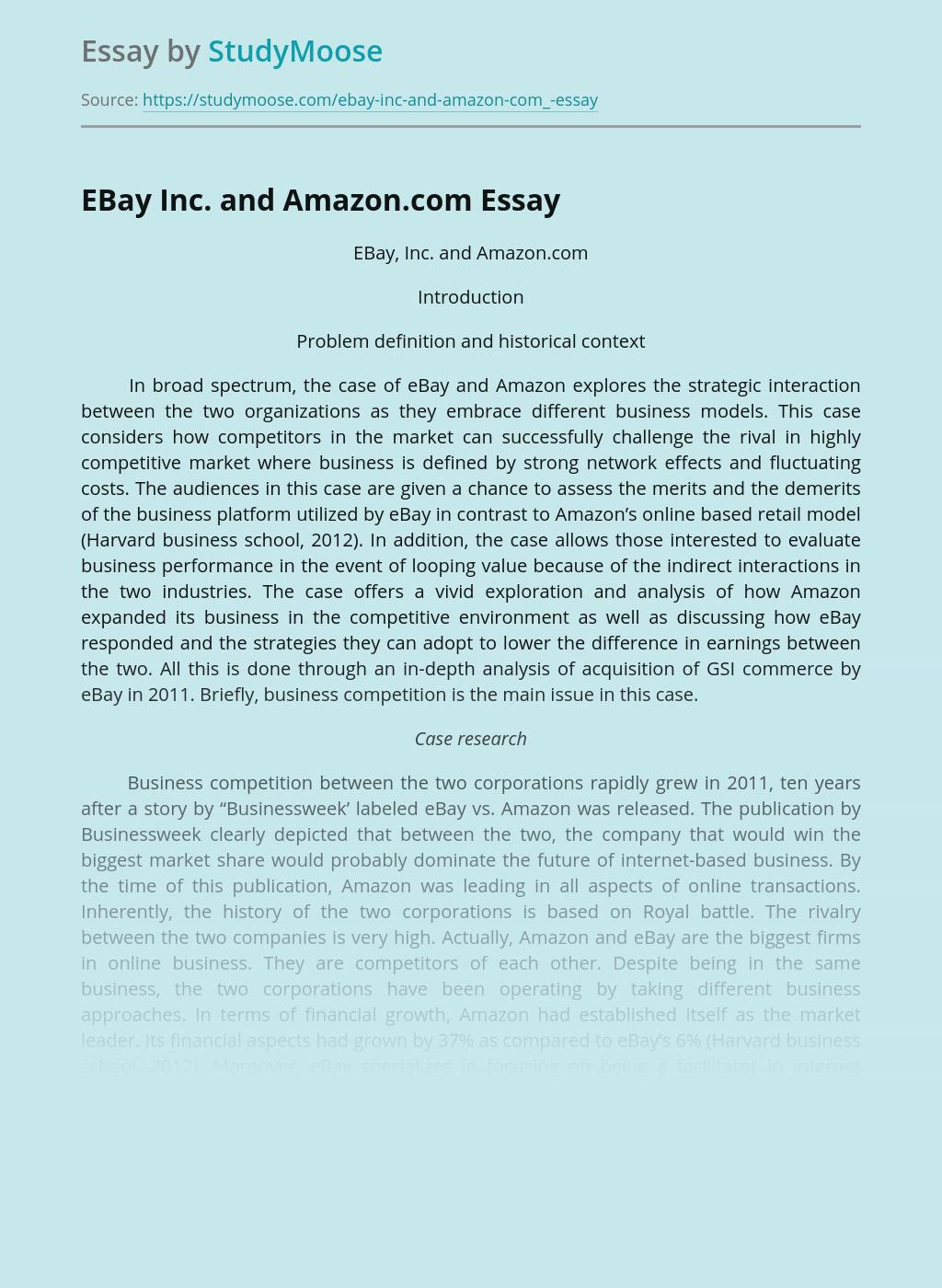 EBay Inc and Amazon