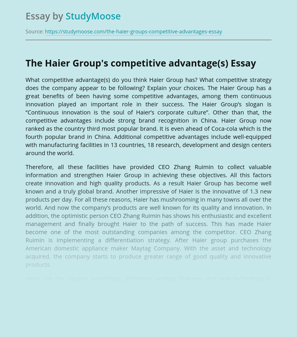 The Haier Group's Competitive Advantage(s)